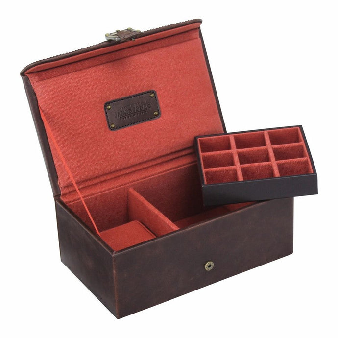 Jacob Jones Burnt Orange Watch & Cufflink Box
