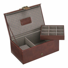 Jacob Jones Brown Check Watch & Cufflink Box
