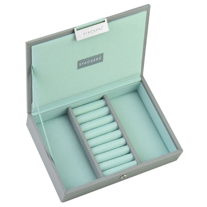 Stackers Dove Grey & Mint Mini Lidded Jewellery Tray