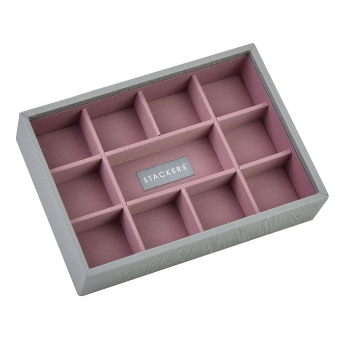 Stackers Dove Grey & Antique Rose Mini 11 Section Jewellery Tray