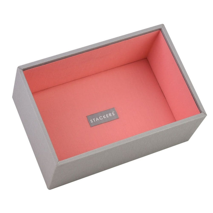 Stackers Dove Grey & Coral Mini Deep Open Jewellery Tray
