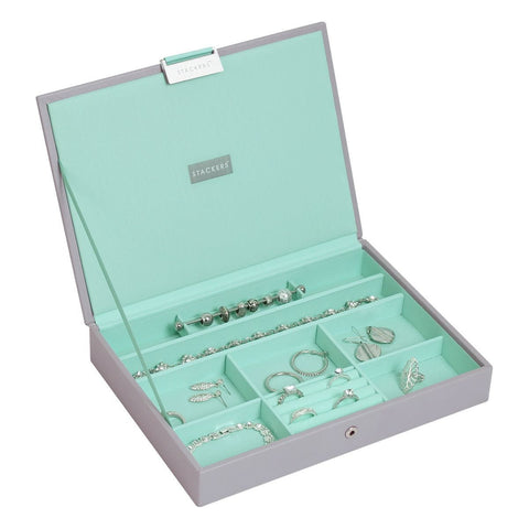 Stackers Dove Grey & Mint Classic Lidded Jewellery Tray