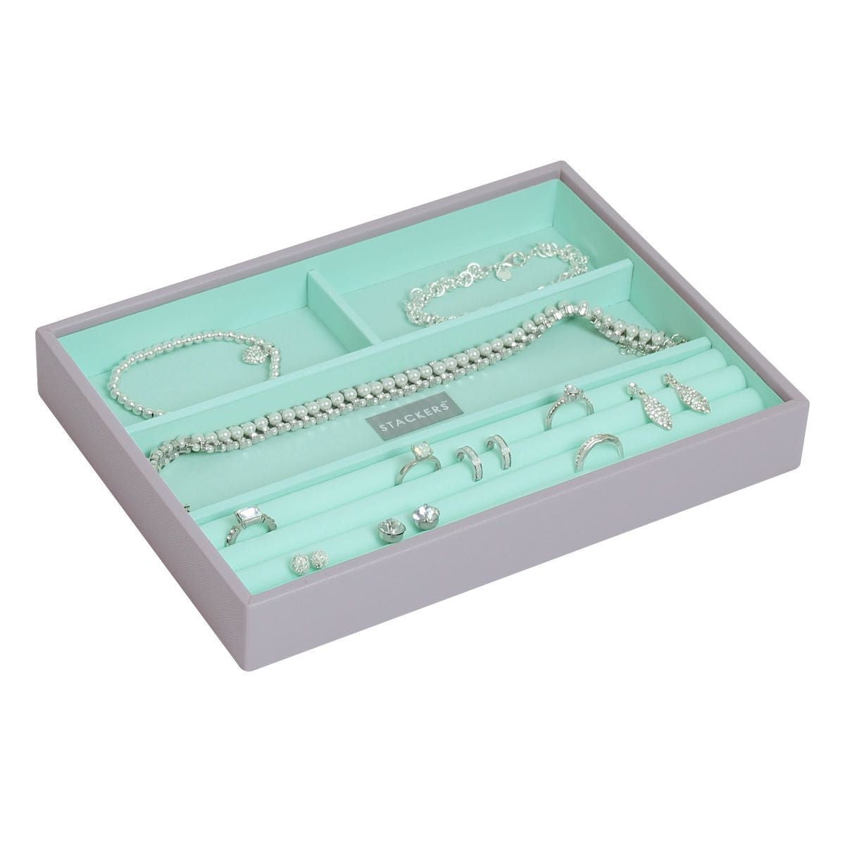 Stackers Dove Grey & Mint Classic 4 Section Jewellery Tray