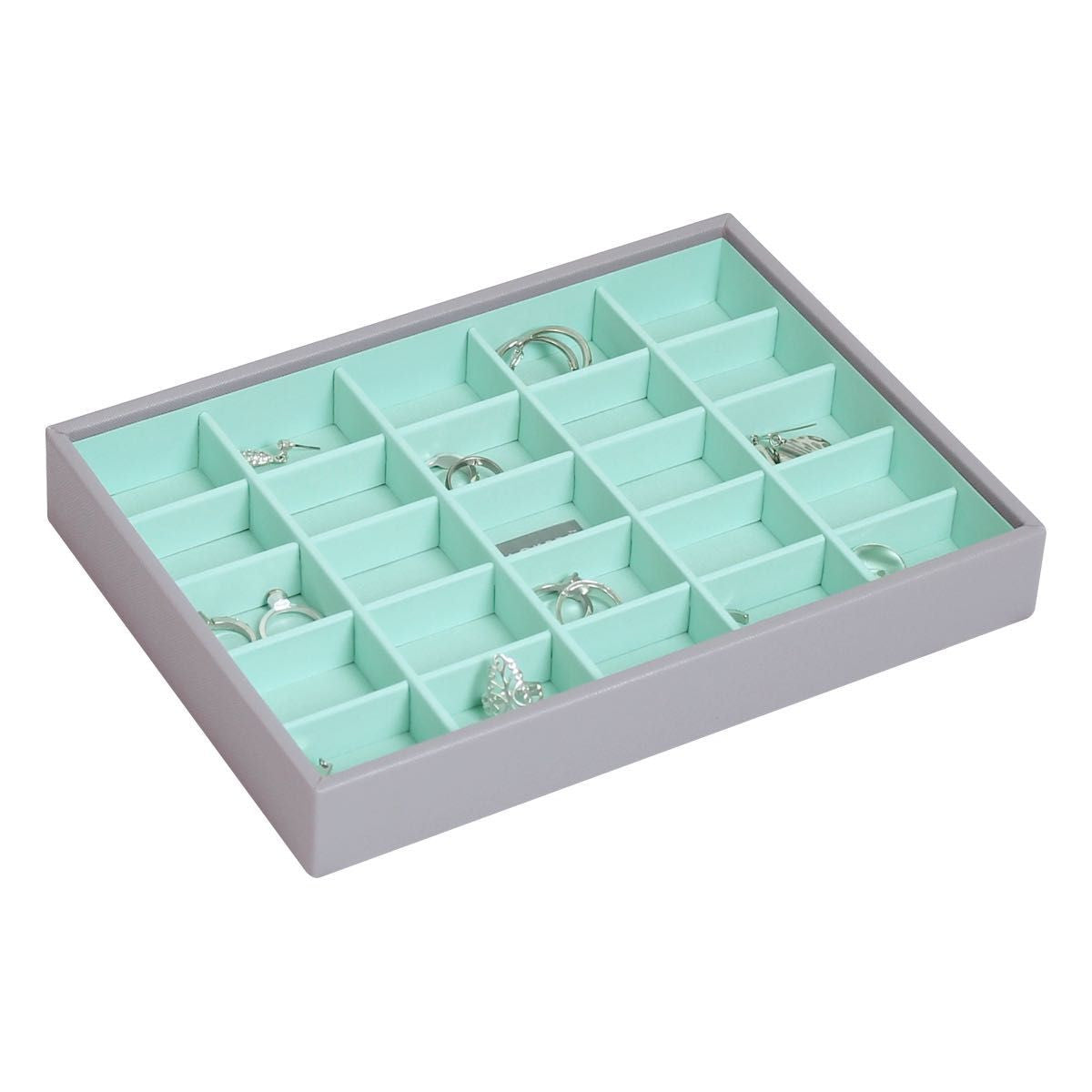 Stackers Dove Grey & Mint Classic 25 Section Jewellery Tray