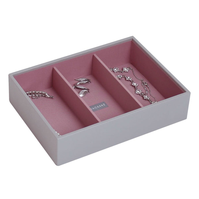 Stackers Dove Grey & Antique Rose Classic Deep 3 Section Jewellery Tray