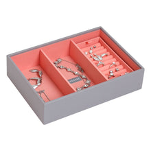 Stackers Dove Grey & Coral Classic Deep 3 Section Jewellery Tray