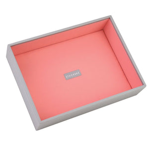 Stackers Dove Grey & Coral Classic Deep Open Jewellery Tray