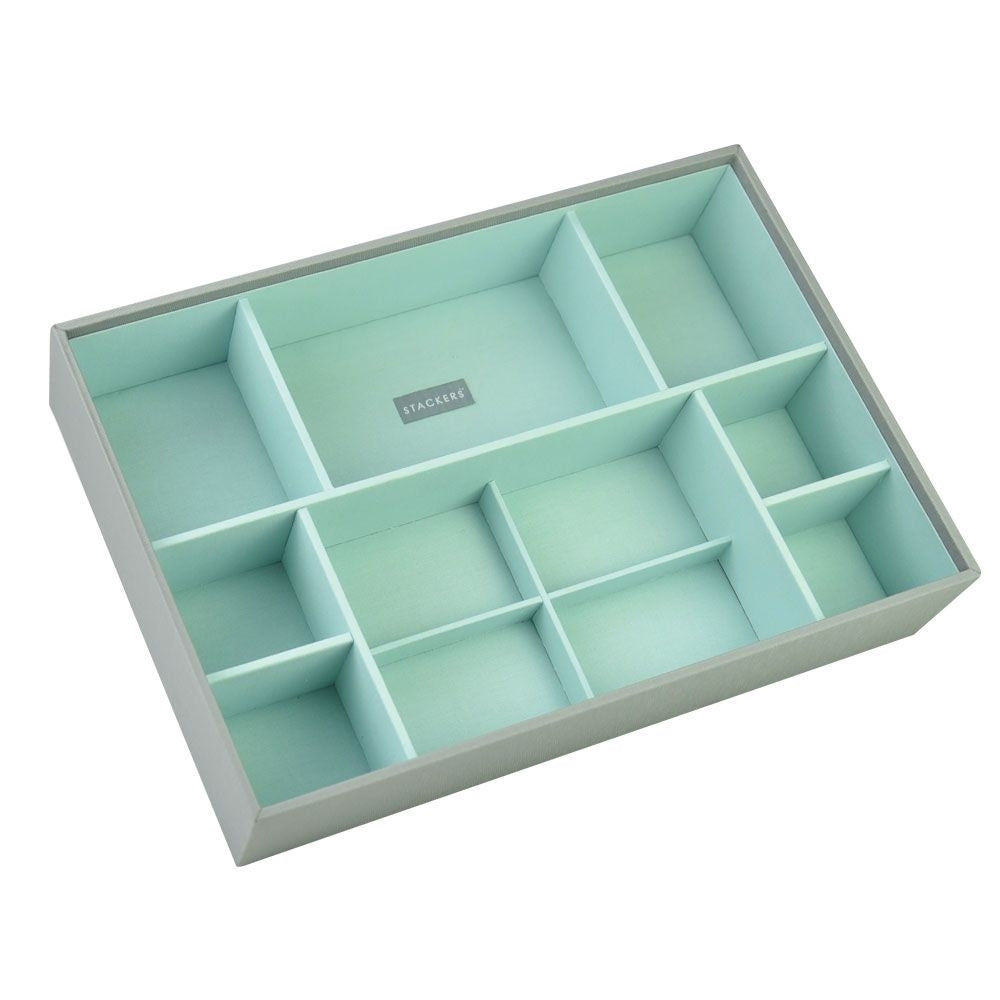 Stackers Dove Grey & Mint Supersize Deep Sectioned Jewellery Tray