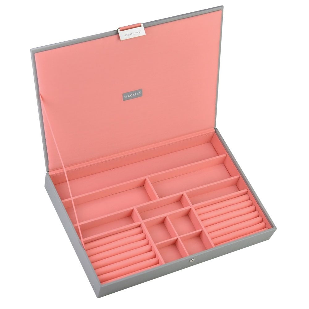 Stackers Dove Grey & Coral Supersize Lidded Jewellery Tray