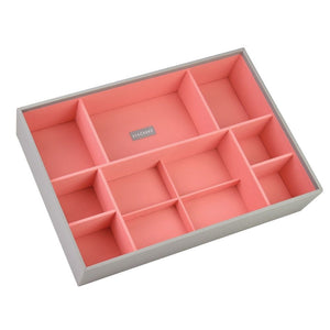 Stackers Dove Grey & Coral Supersize Deep Sectioned Jewellery Tray