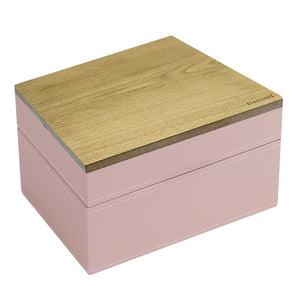 Stackers Soft Pink & Grey Spot Mini Set of 2 With Wooden Lid Jewellery Trays