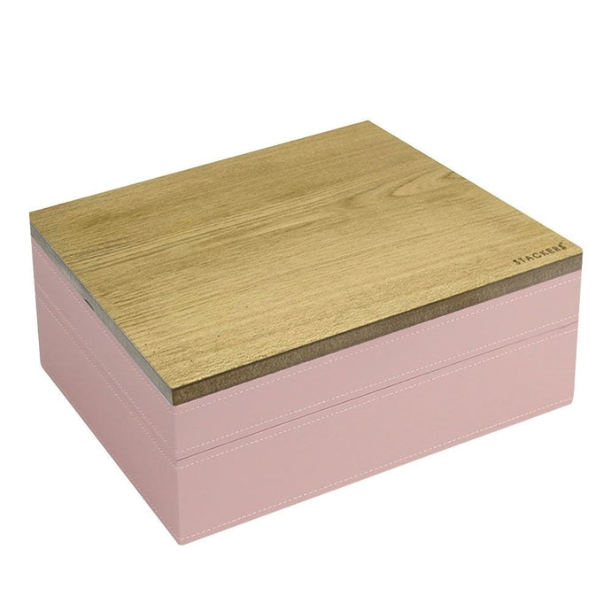 Stackers Soft Pink & Grey Spot Classic Set of 2 With Wooden Lid Jewellery Trays