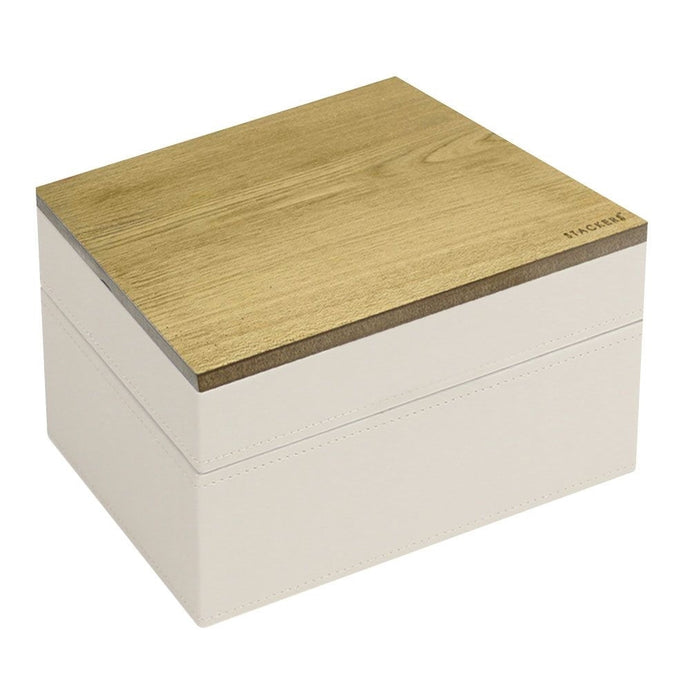 Stackers Vanilla & Mocha Mini Set of 2 With Wooden Lid Jewellery Trays