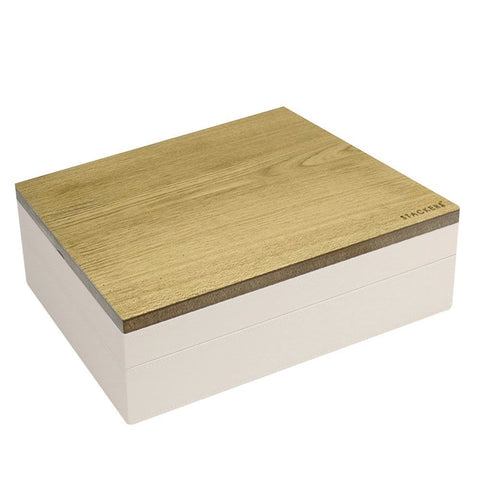 Stackers Vanilla & Mocha Supersize Set of 2 With Wooden Lid Jewellery Trays