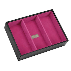 Stackers Black & Fuchsia Classic Set of 2 With Wooden Lid Jewellery Trays