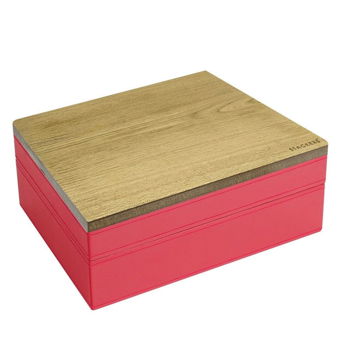 Stackers Red & Red Classic Set of 2 With Wooden Lid Jewellery Trays