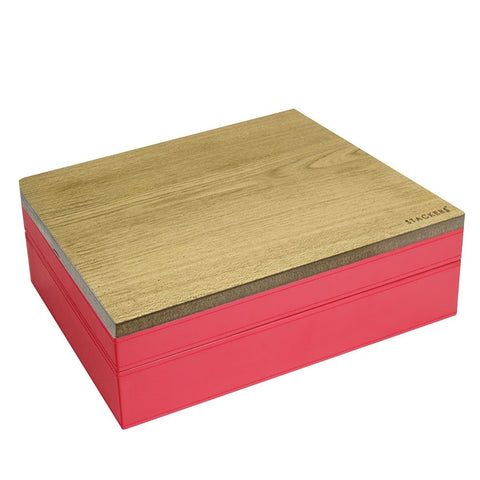 Stackers Red & Red Supersize Set of 2 With Wooden Lid Jewellery Trays