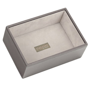 Stackers Mink & Grey Mini Set of 2 With Wooden Lid Jewellery Trays