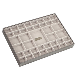 Stackers Mink & Grey Supersize Set of 2 With Wooden Lid Jewellery Trays