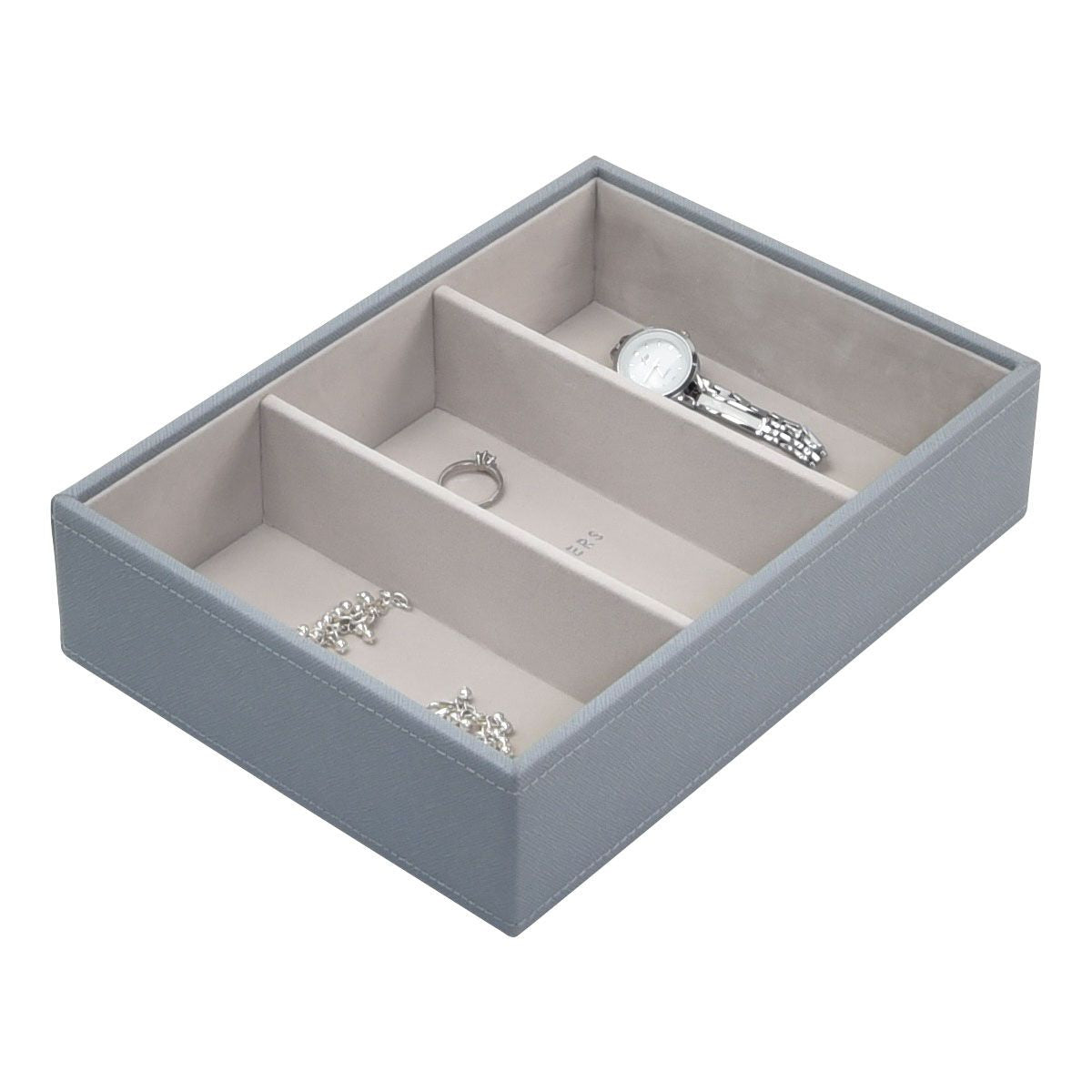 Stackers Dusky Blue Classic Deep 3 Section Jewellery Tray