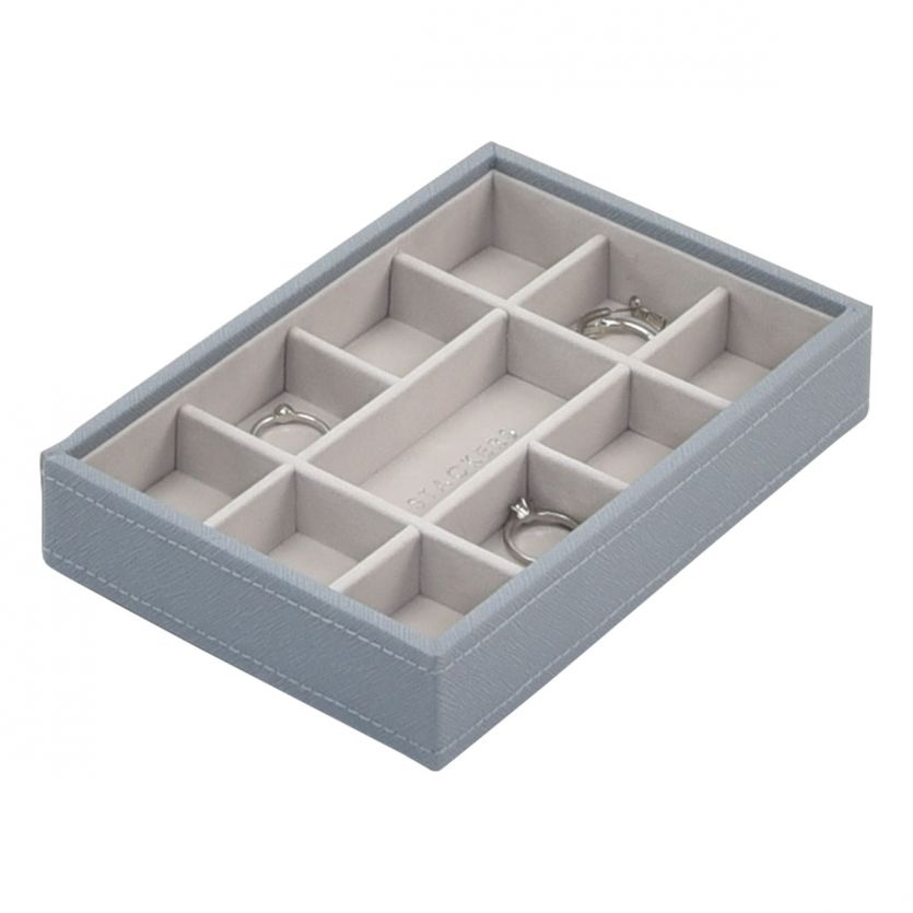 Stackers Dusky Blue Mini 11 Section Jewellery Tray