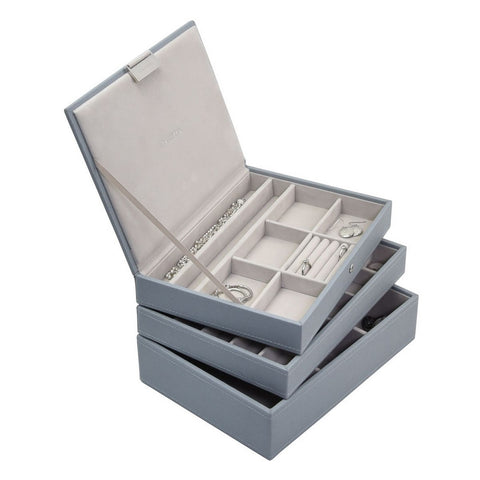 Stackers Dusky Blue Classic Set of 3 Jewellery Trays