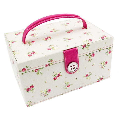 Button It Medium Floral Polka Dot Needlework/Sewing Box