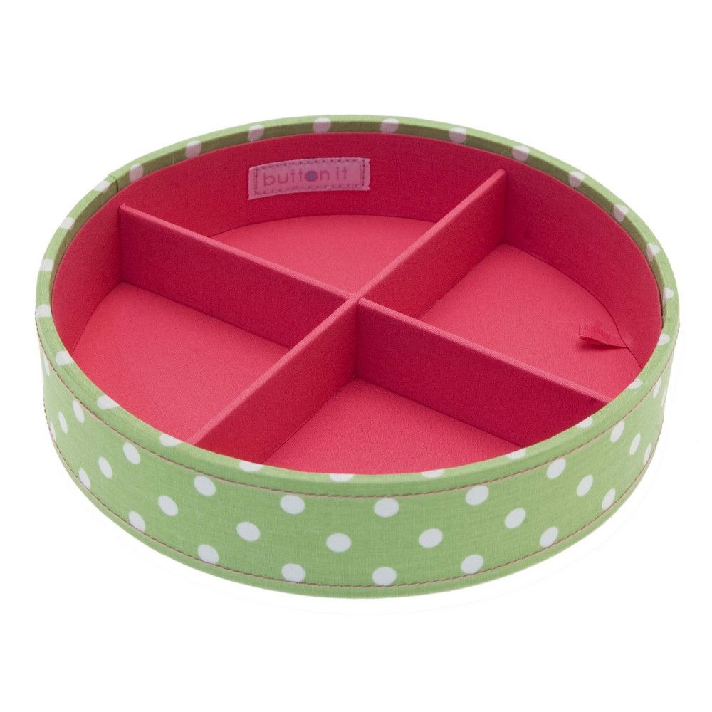Button It Green Polka Stacking Sewing/Needlework Tray