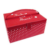 Button It Large Red Polka Dot Needlework/Sewing Box