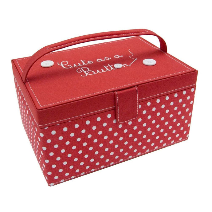 Button It Medium Red Polka Dot Needlework/Sewing Box