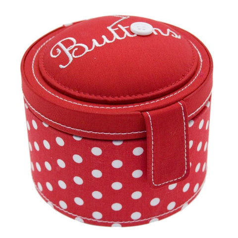 Button It Red Polka Dot Needlework/Sewing Button Box