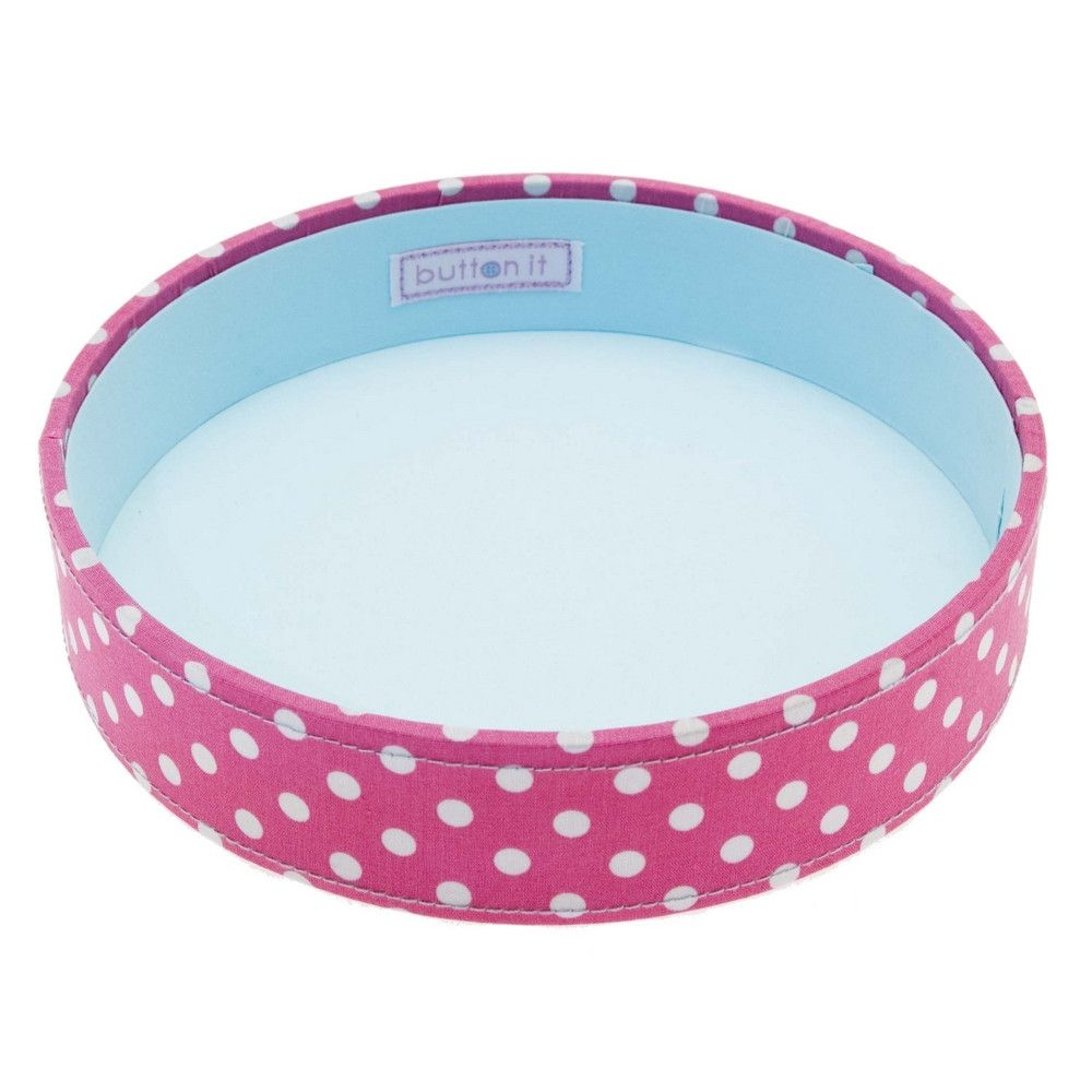 Button It Pink Polka Stacking Sewing/Needlework Tray
