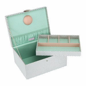 Button It Large Sewing Box In Mink Polka Dot With A Teal Polka Lining