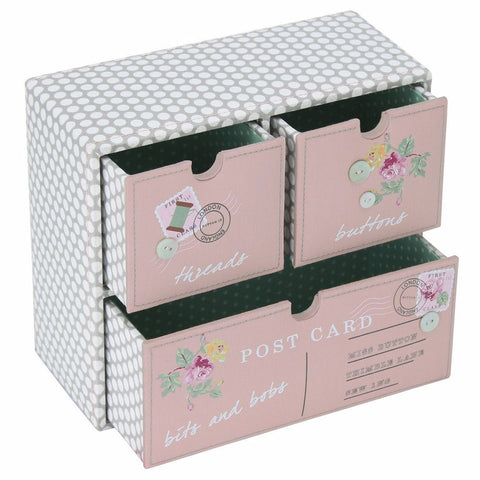Button It Three Drawer Sewing Storage Box With Postcard Design
