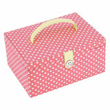 Button It Large Sewing Box In Coral Polka Dot With A Floral Lining