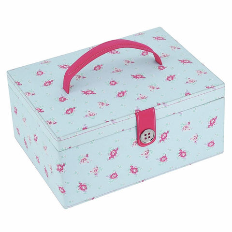 Button It Large Sewing Box In Duck Egg Floral