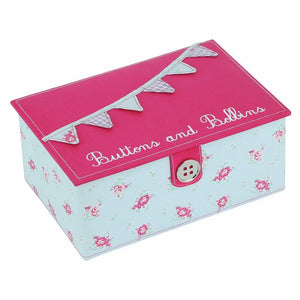 Button It Medium Floral Bunting Sewing Box In Duck Egg Floral