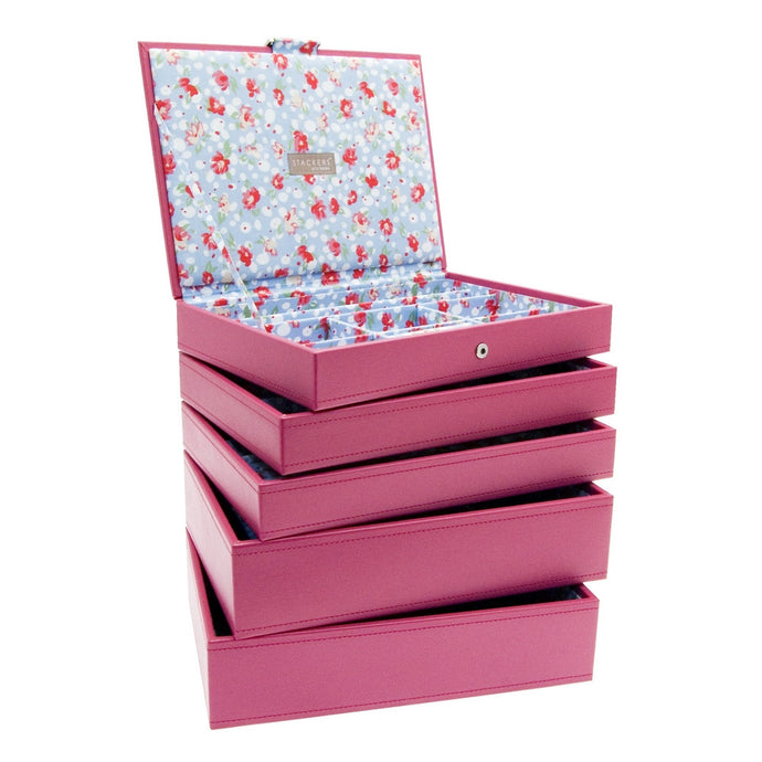 Stackers Set of 5 Hot Pink Medium Stacker Jewellery Trays