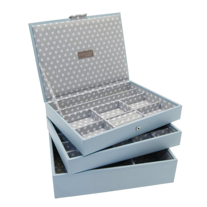 Stackers Set of 3 Blue Grey Medium Stacker Jewellery Trays