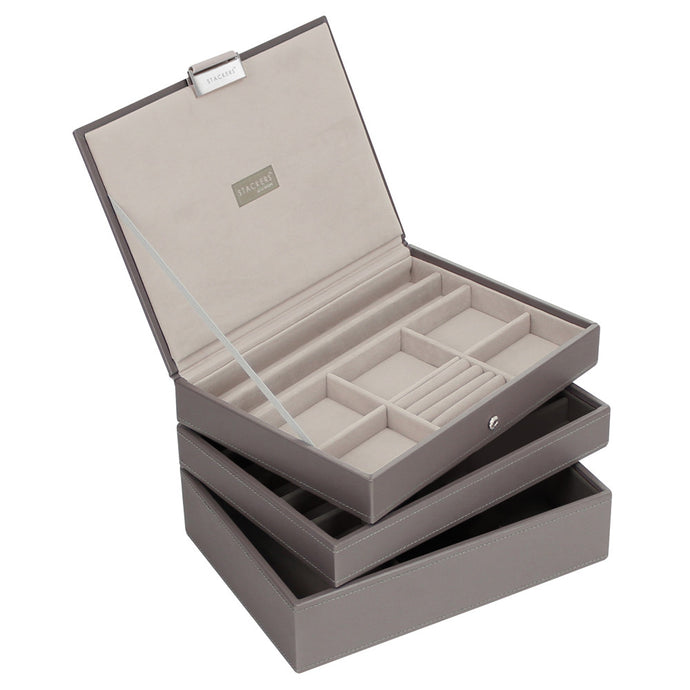 Stackers Set of 3 Mink & Grey Medium Stacker Jewellery Trays -Style 2