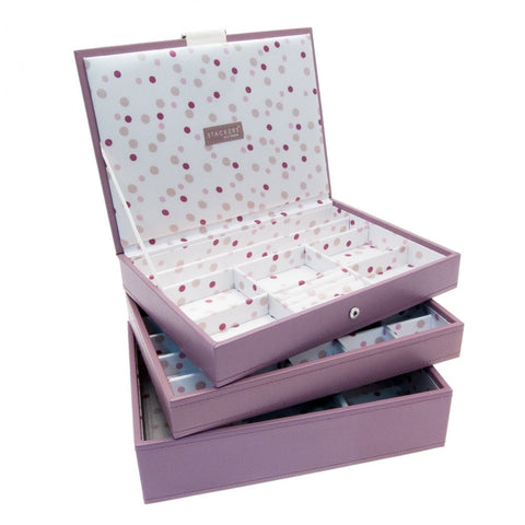 Stackers Set of 3 Pink Spot Medium Stacker Jewellery Trays