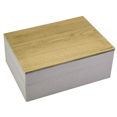 Stackers Taupe Classic Set of 2 With Wooden Lid Jewellery Trays