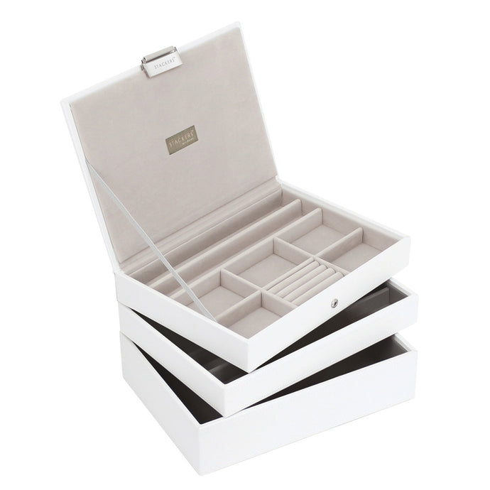 Stackers Set of 3 White & Grey Medium Stacker Jewellery Trays -Style 2