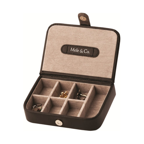 Mele & Co Black Bonded Leather 1 Cufflink Box
