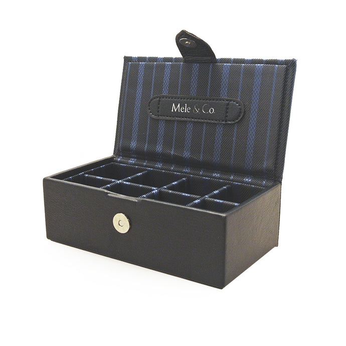 Mele & Co Blue Striped Cufflink Box