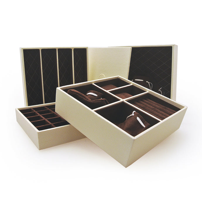 Mele & Co White Stacking Jewellery Tray Set with Dark Lining