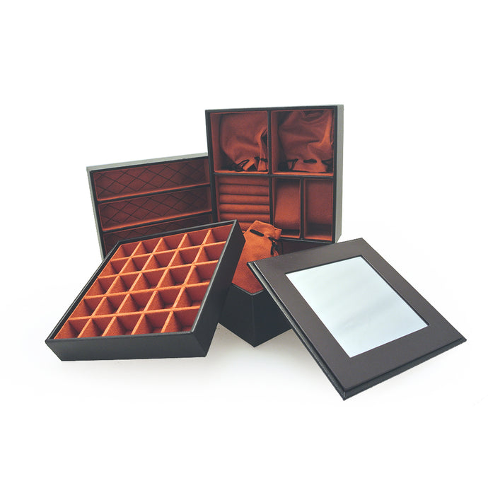 Mele & Co Black And Orange Stacking Jewellery Tray Set
