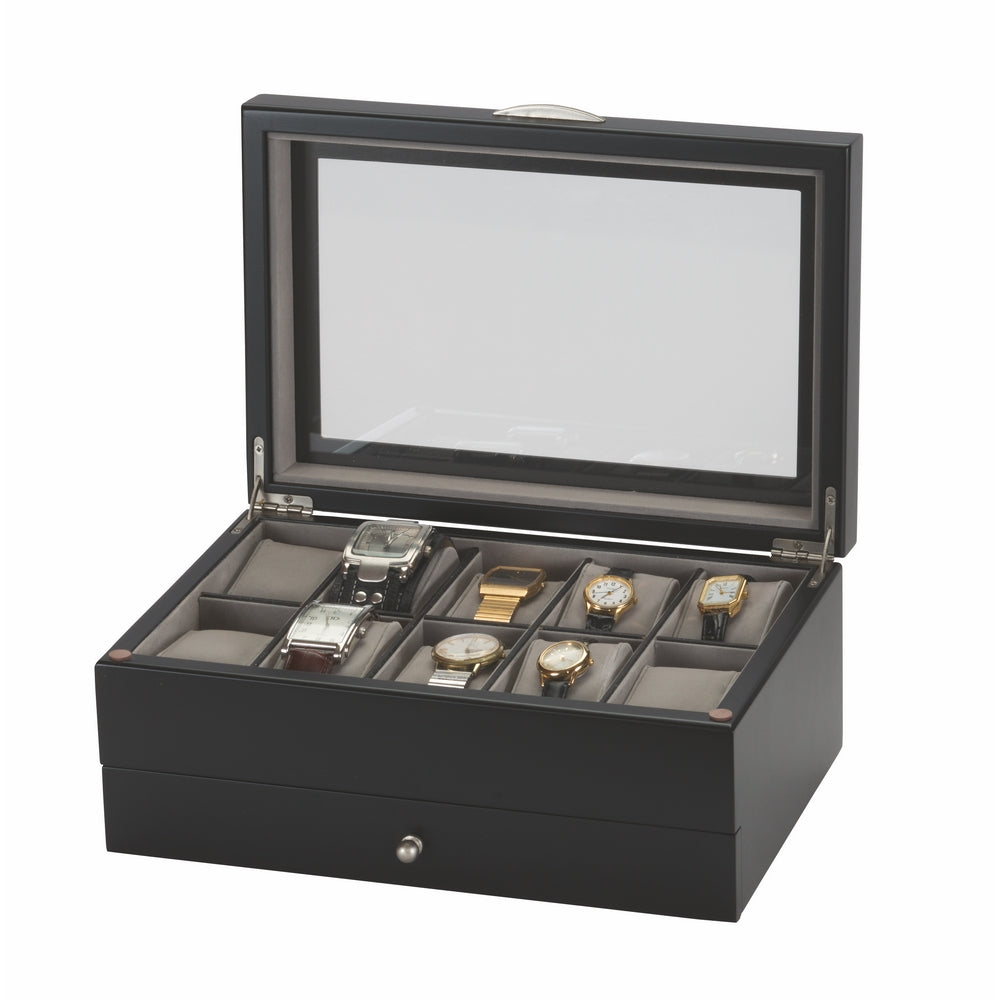 Mele & Co Leon 10 Space Luxury Watch Box with Wood Finish