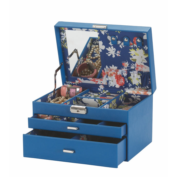 Mele & Co Kay Dark Blue Floral Lining Jewellery Box