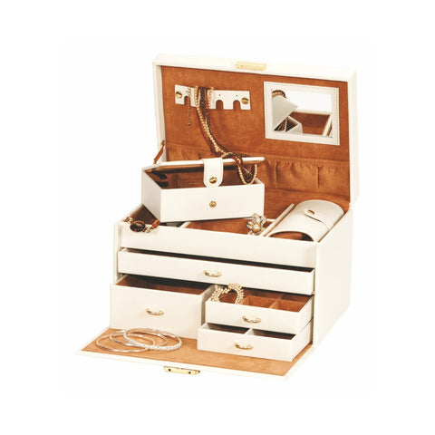 Mele & Co Duchess Cream and Tan Large Jewellery Box